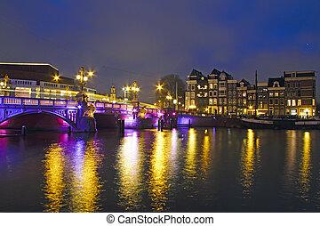 blaues, stadt, niederlande, brücke, landschaftlich, amsterdam