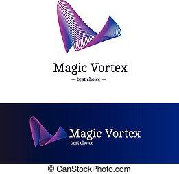 blaues, steigung, abstrakt, logotype, welle, wirbel, vektor, violett, logo.