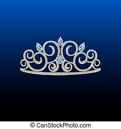 blaues, steine, diamant, tiara
