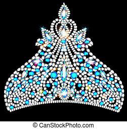 blaues, steine, krone, kostbar, tiara, frauen