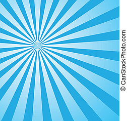 blaues, stil, sunburst, retro
