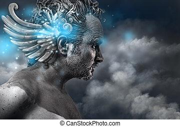 blaues, stil, uralt, götter, bild, held, klassisch, fantasie, effekte, licht