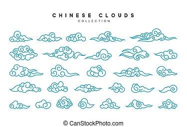 blaues, stil, wolkenhimmel, sammlung, chinesisches