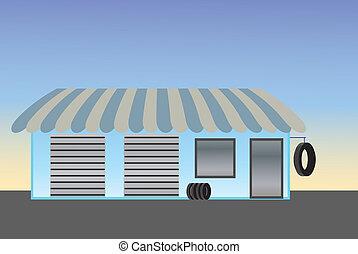 blaues, storefront, ermüden, kaufmannsladen