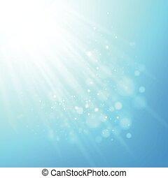 blaues, strahlen, von, light., vektor, bokeh, unscharfer hintergrund