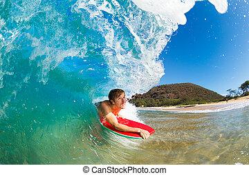 blaues, surfen, pensionsgast, boogie, wasserlandschaft,...