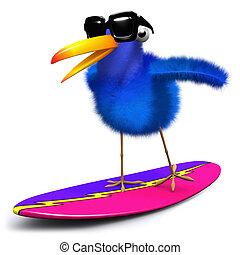 blaues, surfen, vogel, 3d