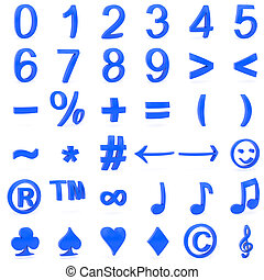 blaues, symbole, 3d, zahlen, gebogen