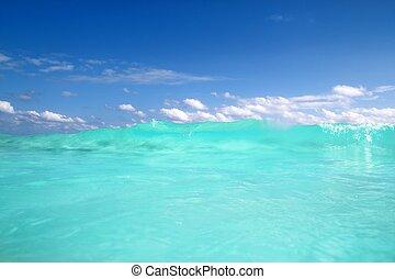 blaues, türkis, karibisch, schaum, welle, wasser, meer