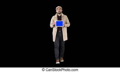 blaues, tablette, mockup, ausstellung, gehen, junger, sprechende , digital, alpha, schirm, kanal, mann