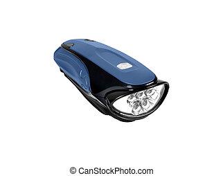 blaues, taschenlampe, freigestellt
