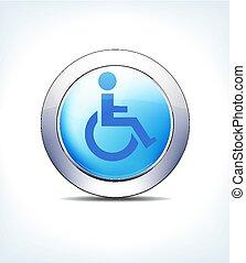 blaues, taste, behinderten, rollstuhl, medizinische hilfeleistung, vektor, ikone