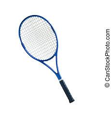 blaues, tennis, freigestellt, hintergrund, schläger, weißes