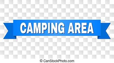 blaues, text, geschenkband, camping, bereich