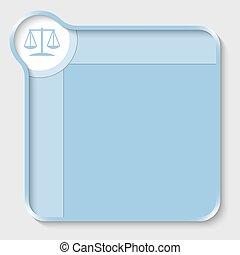 blaues, textfeld, für, eintragen, text, und, gesetz, symbol