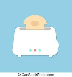 blaues, toaster, freigestellt, hintergrund, weißes, schatten