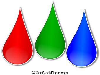 blaues, tropfen, grün rot