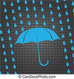 blaues, tropfen, schirm, regen