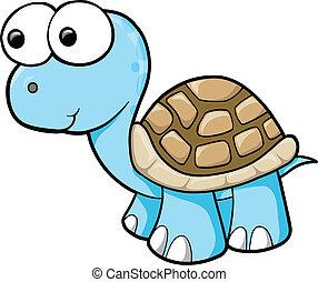 blaues, turtle, vektor, albern, tier