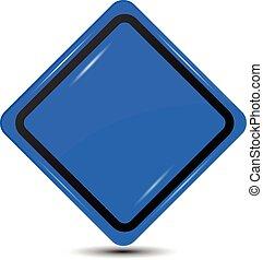 blaues, unbelegtes zeichen
