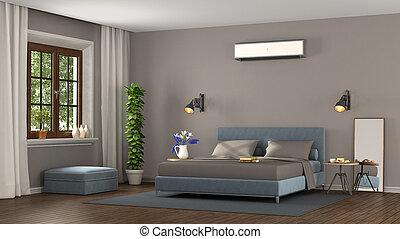 blaues, und, brauner, modern, schalfzimmer