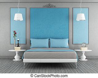 blaues, und, graue , schalfzimmer