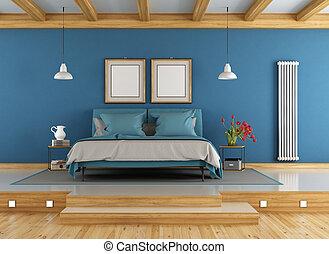 blaues, und, hölzern, meister, schalfzimmer