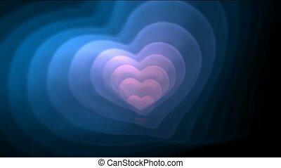 blaues, und, rosa, fractal, herz, für, valentine, day.1080p