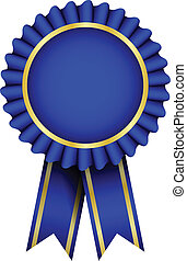 blaues, vektor, abzeichen, geschenkband