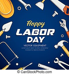 blaues, vektor, arbeit, ausrüstung, konstruktionstechnik, tag, hintergrund, glücklich