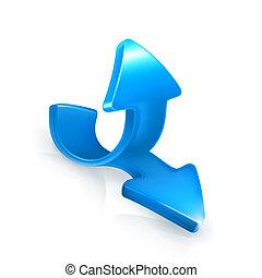 blaues, vektor, emblem, pfeile