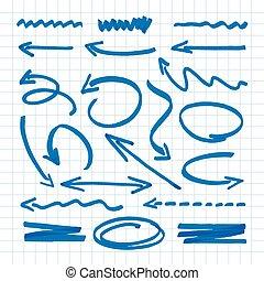 blaues, vektor, gruppe, abbildung, arrows.