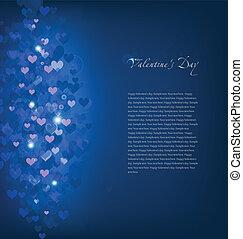 blaues, vektor, hearts., hintergrund
