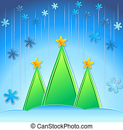 blaues, vektor, hintergrund, bäume, weihnachten