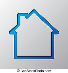 blaues, vektor, kunst, illustration., house., papier