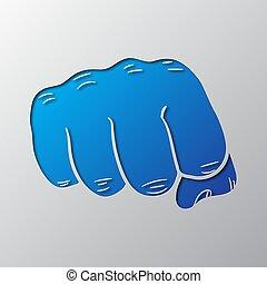 blaues, vektor, kunst, illustration., papier, fist.