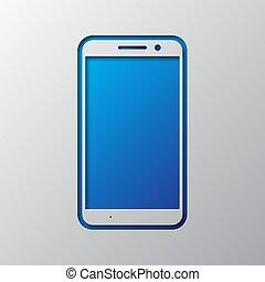 blaues, vektor, kunst, illustration., papier, smartphone.