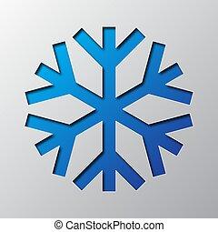 blaues, vektor, kunst, illustration., papier, snowflake.
