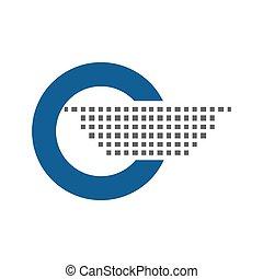 blaues, vektor, logo, kreis, runder , ikone
