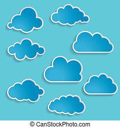 blaues, vektor, wolkenhimmel, abbildung