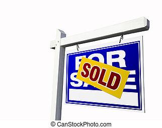 blaues, verkauft, verkauf, immobilien- zeichen, auf, white.