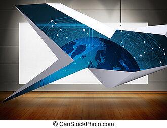 blaues, vermischt bild, abstrakt, erde, schirm