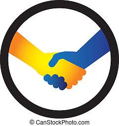 blaues, vertritt, hã¤ndedruck, begriff, orange/yellow, geschaeftswelt, leute, zwischen, zwei, abbildung, abkommen, colors., schütteln, hand, freundschaft, oder, gebärde, gruß