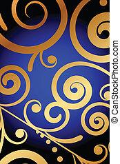 blaues, verzierung, hintergrund, gold