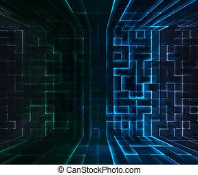 blaues, virtuell, hintergrund, raum