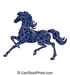 blaues, voll, silhouette, illustration., symbol, 2014, editable, freigestellt, eps, vektor, jahr, ikone, 10., pferd