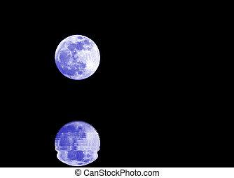 blaues, vollmond, mit, reflexion, auf, der, wasser, und, himmelsgewölbe, völlig, b