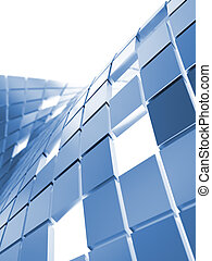 blaues, würfel, abstrakt, metallisch, hintergrund, weißes