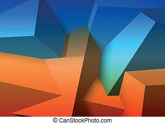 blaues, würfel, abstrakt, ubergreifen, hintergrund, orange