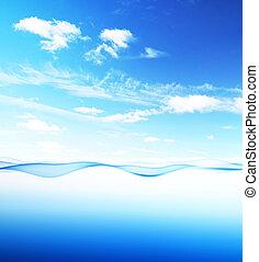 blaues wasser, himmelsgewölbe, welle